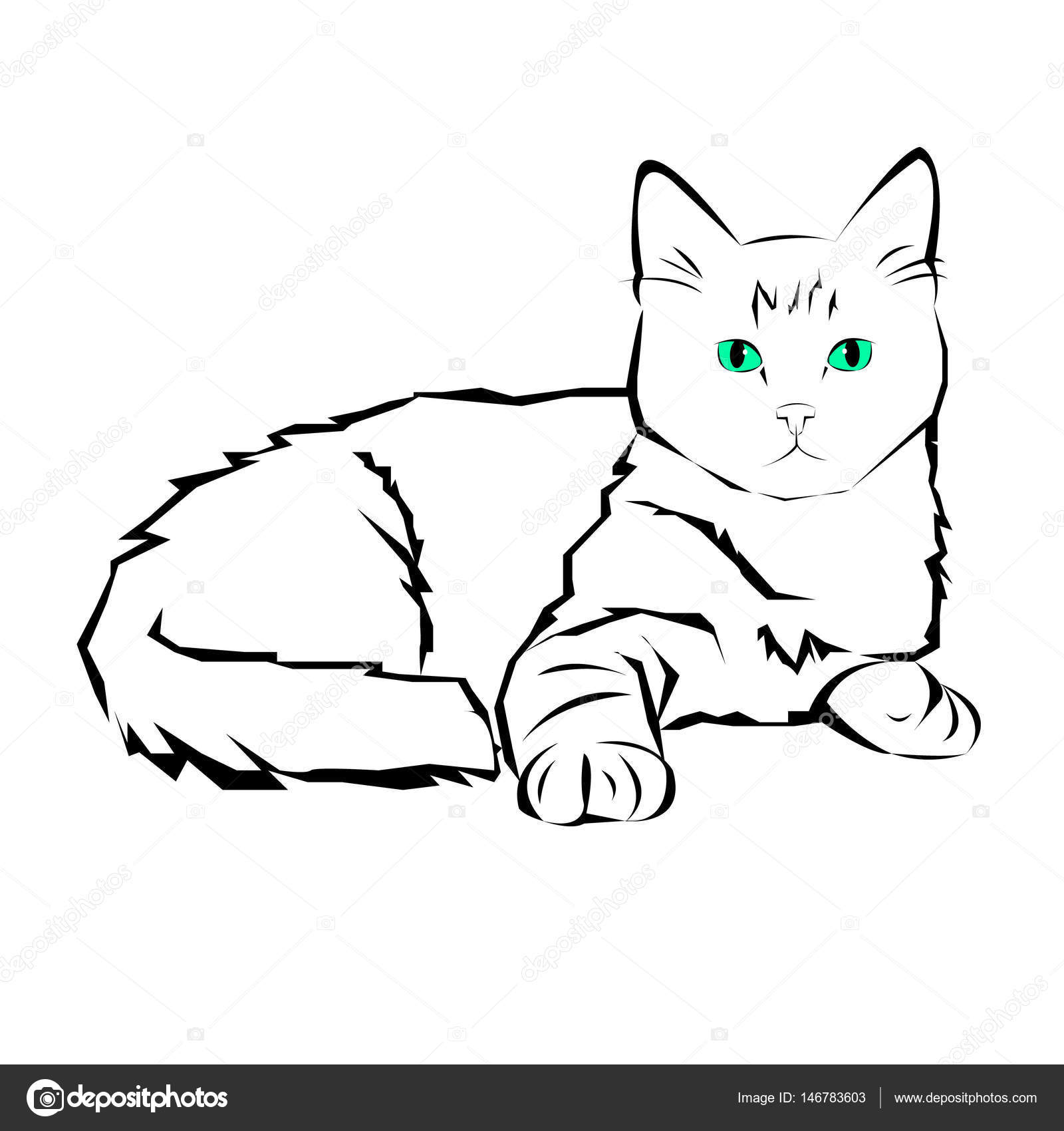 Contour Line Drawing Of A Cat : Cat animal contour drawing creative blue image