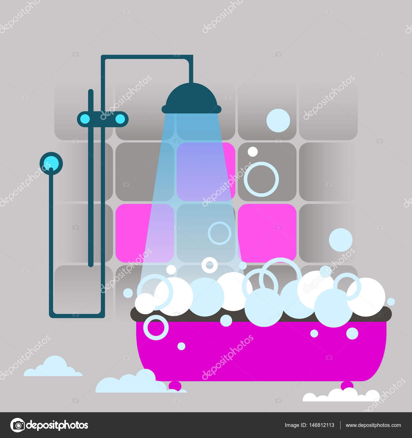 cuarto de baño, vector, interior, pared, ducha, decoración, aseo ...