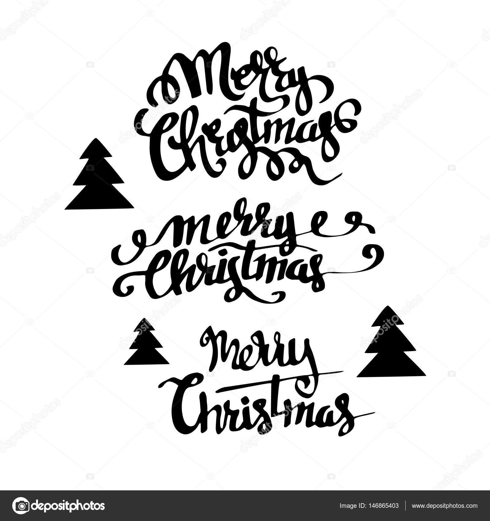 Christmas Banners Merry Christmas Handwritten Calligraphy