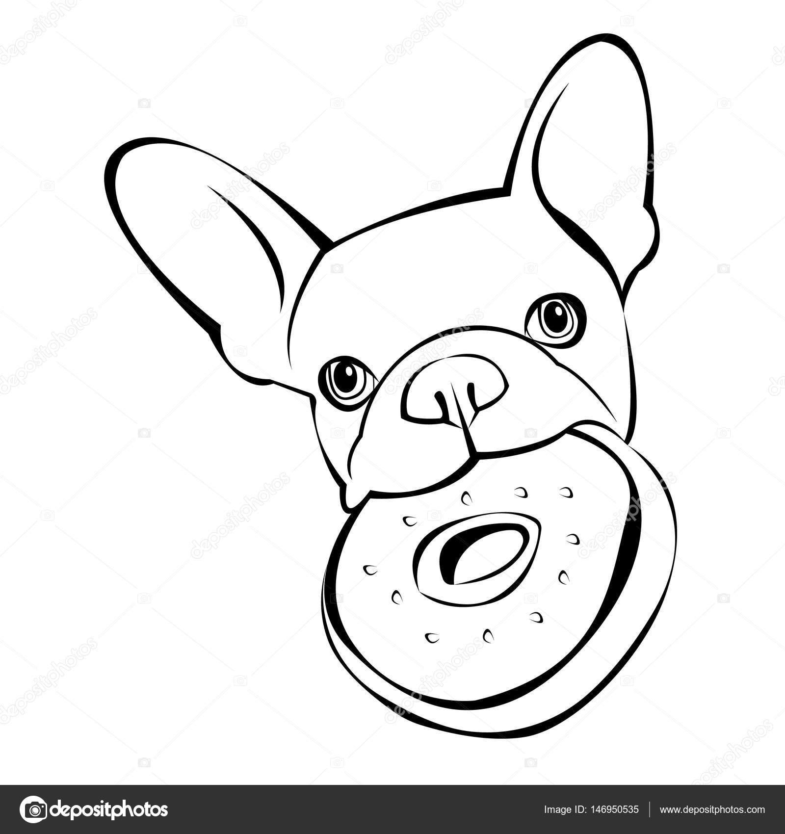 bulldog hond dier frans vector illustratie huisdier