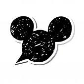 Fotografie Mickey, vektor, ilustrace, ikony, myš, moderní, černý, nálepka, uši, malované Mickey Mouse hlava