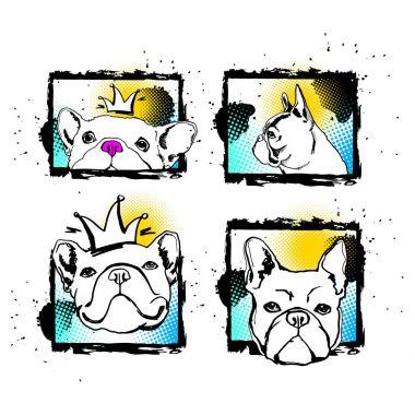 bulldog, dog, animal, french, vector, illustration, pet, breed