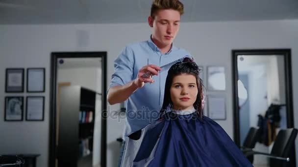 Womens haircut. hairdresser, beauty salon