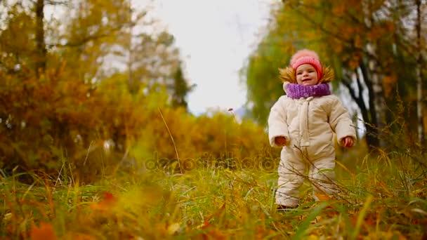 Malá holčička v podzimní oblečení v teplé čepice a šála stojící v parku sledovat žluté listy, pádu stromů. Výtahy a odděluje listy ze stromu.