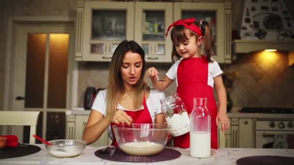 Beautiful young mother helping her little daughter along to cook cake in red aprons. Pour the milk and stir the batter together in the kitchen.