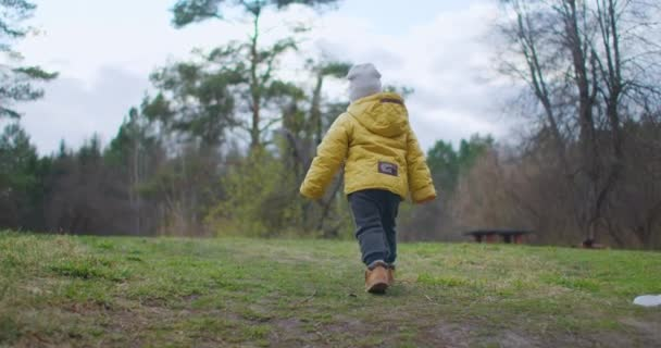 Slow motion: Following a boy walking in a forest. A Young Boy Is Walking In A Mountain Forest On The Sunny Day. A Hiker. Small boy 2-3 years old in a yellow jacket explores nature and the forest