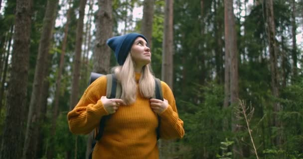A female traveler in a yellow sweater with a backpack is walking along a path in the forest looking at beautiful views. Female traveler exploring the forest in a sweater with a backpack