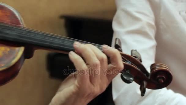 Žena hraje staré housle, housle, Mazák closeup