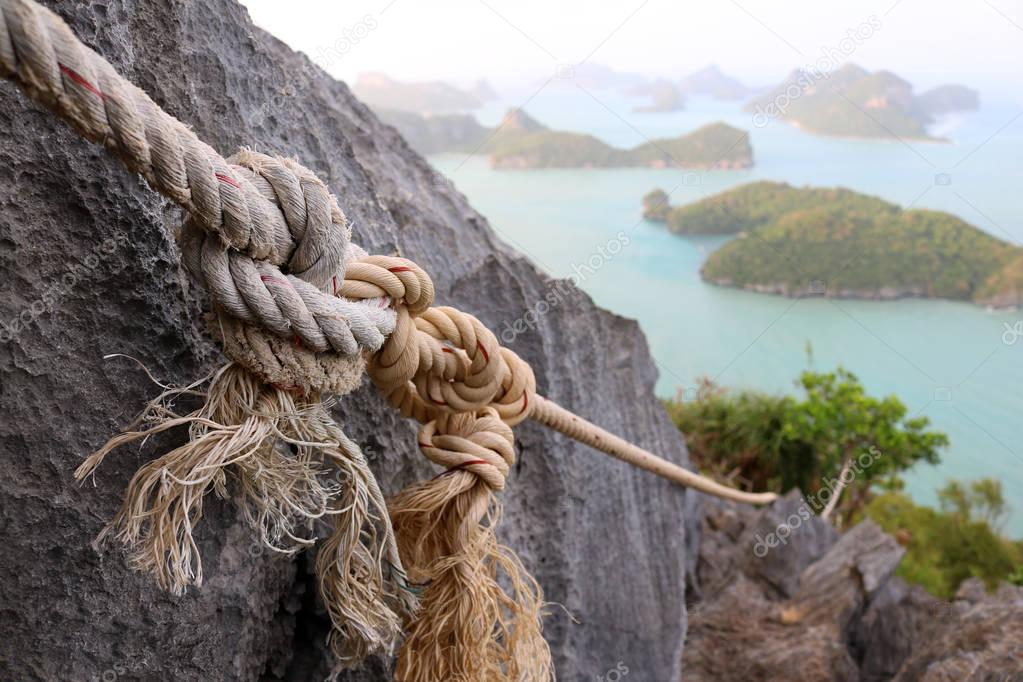 The rope in the nature trails on the mountain.