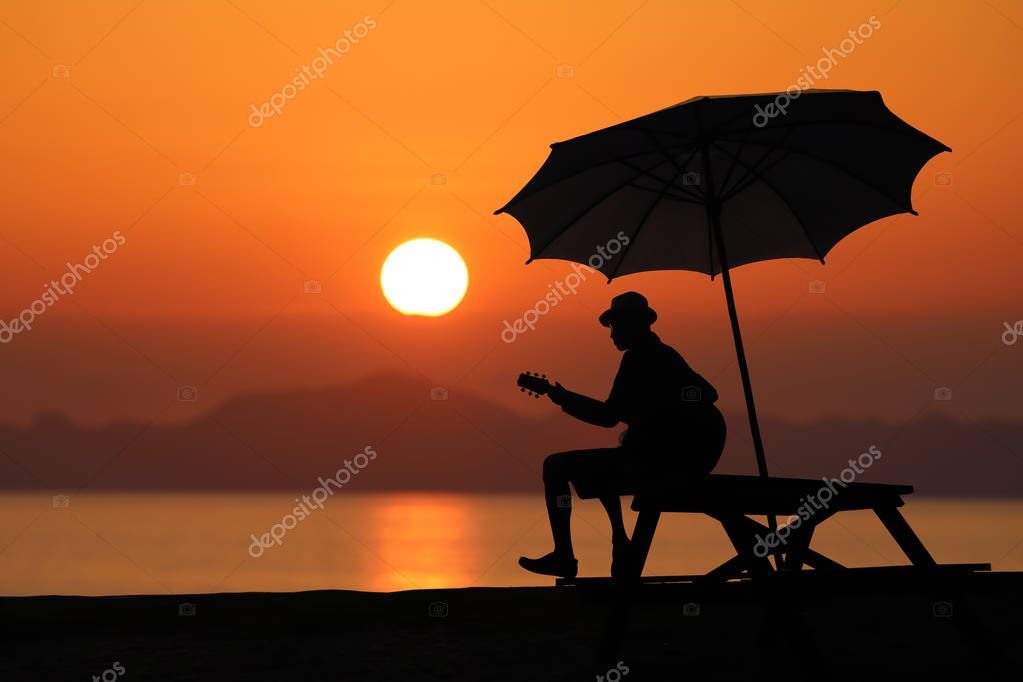 Silhouette of a man playing a guitar on the beach