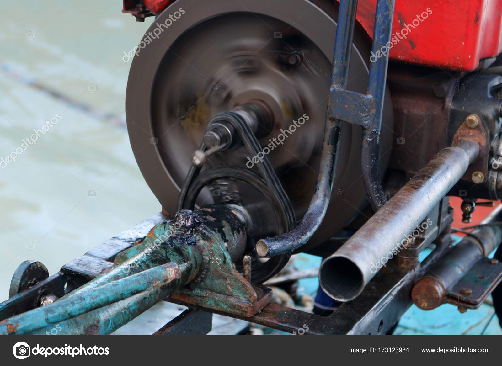 Chain and gear of modified diesel boat engine is running