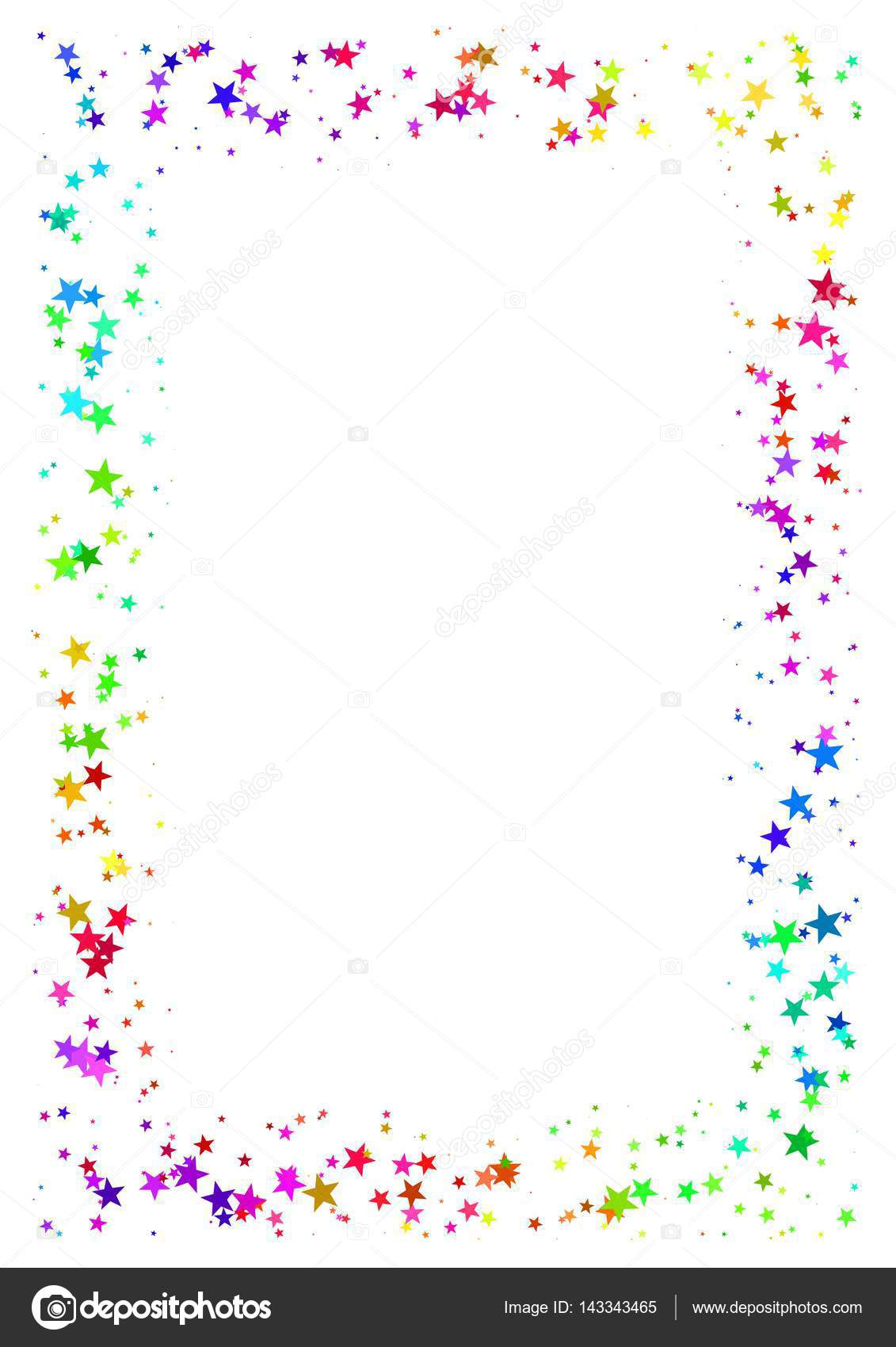 Abstract frame of colorful stars on white background, A4 ...
