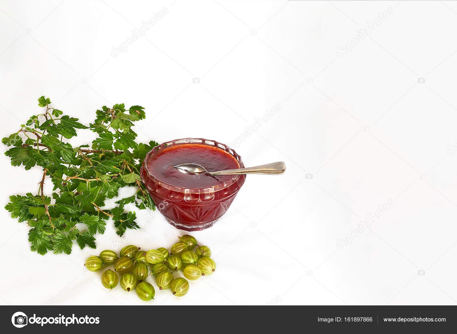 Stachelbeeren, Marmelade und Zweig mit Blättern - mock-up Vorlage ...