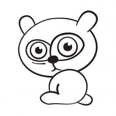 Cartoon little bear on white background. Vector illustration.