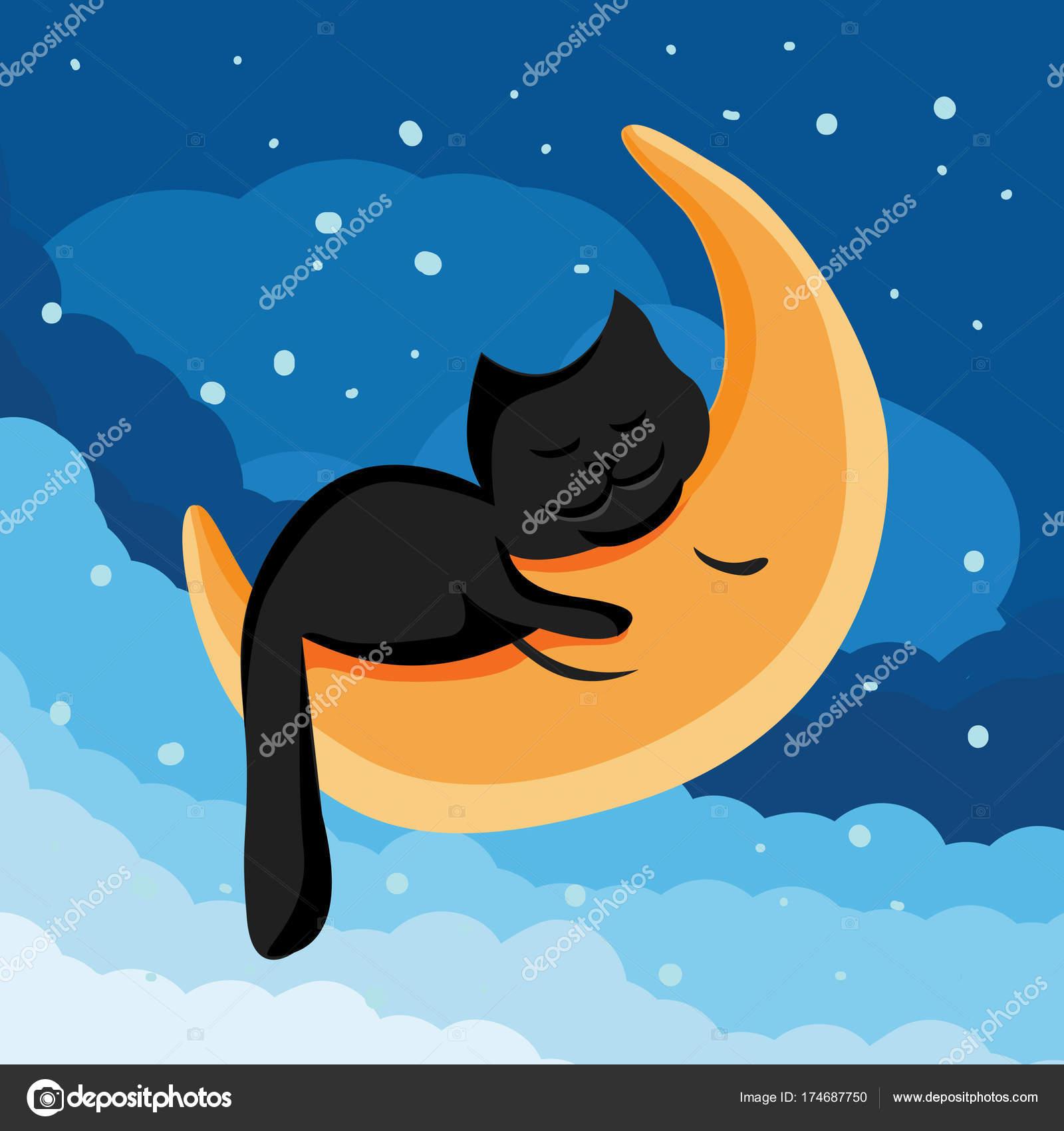 Vettore Buonanotte Gatto Nero Illustrazione Del Fumetto Di