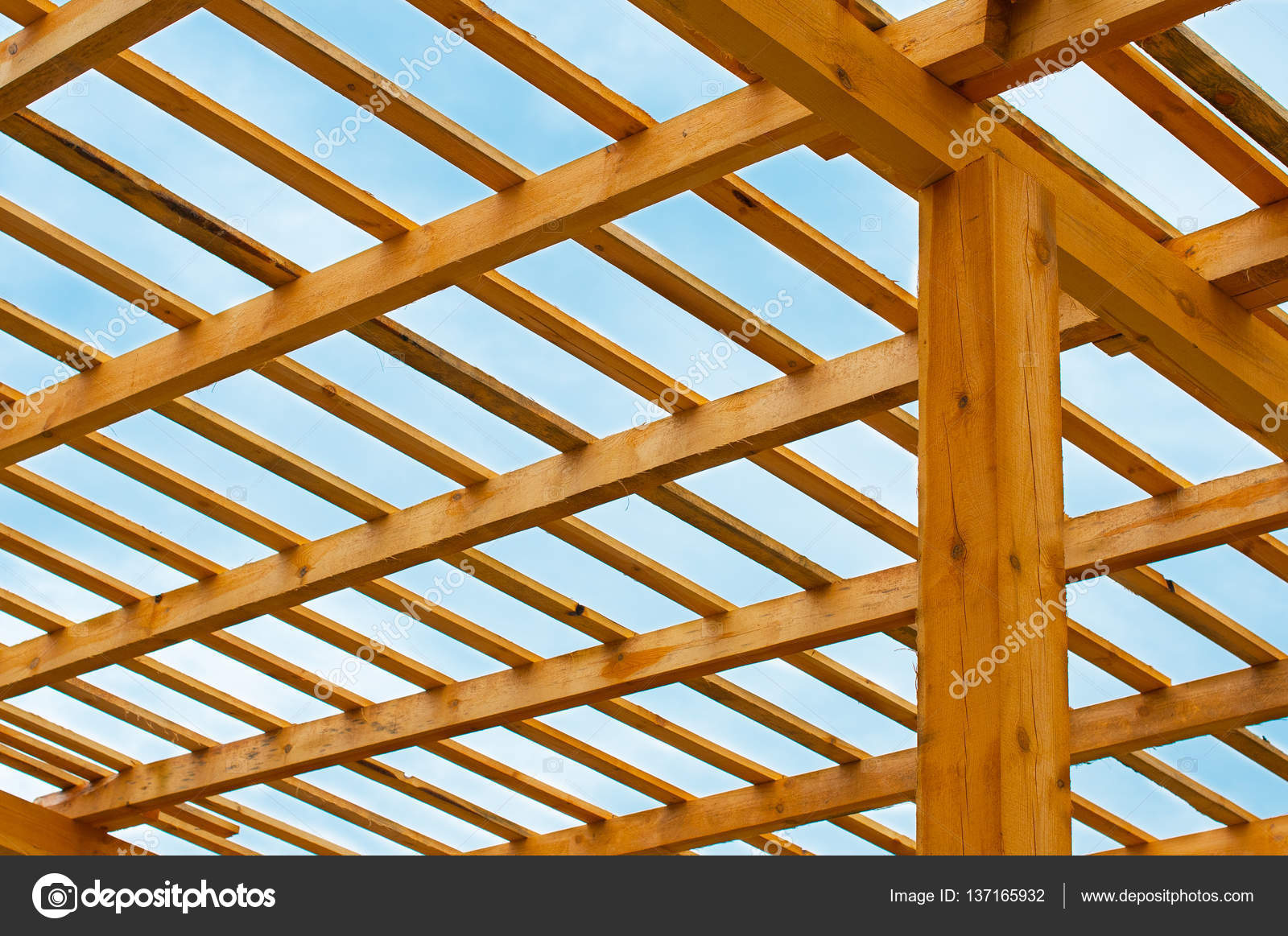 Roofing Construction Wooden Roof Frame House Construction Stock
