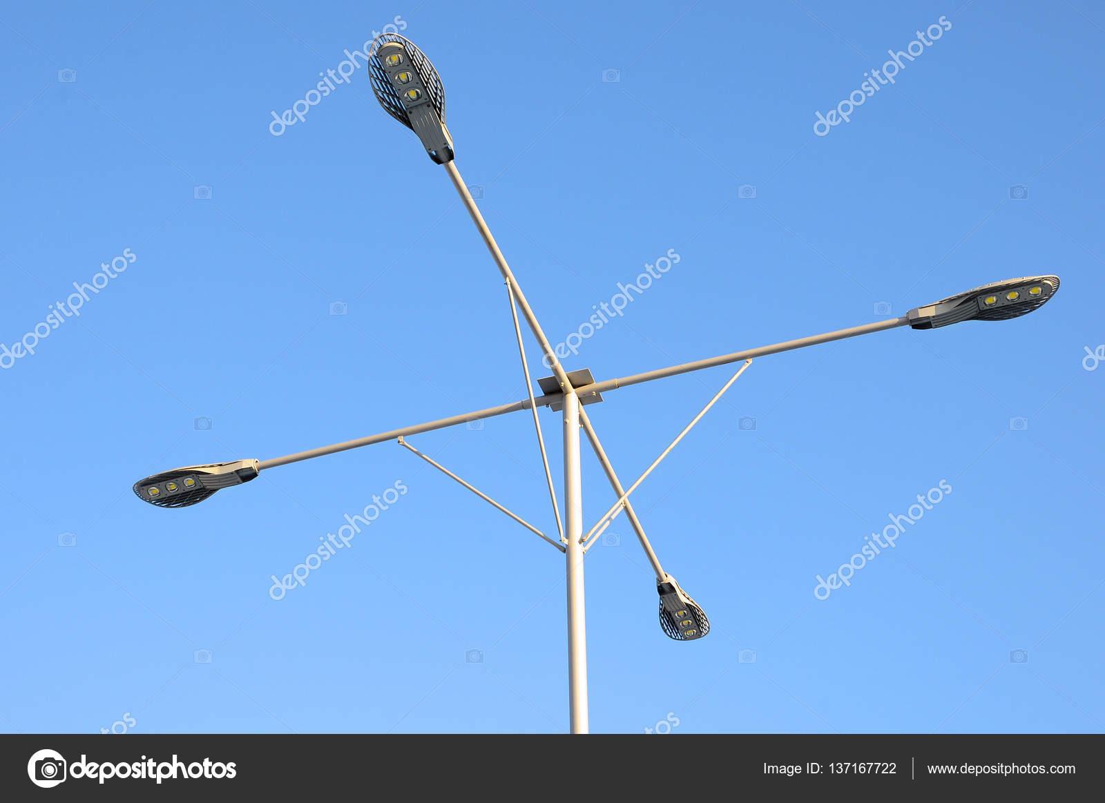 LED spotlight. Lamp post closeup. Modern Lighting Technology — Stock ...