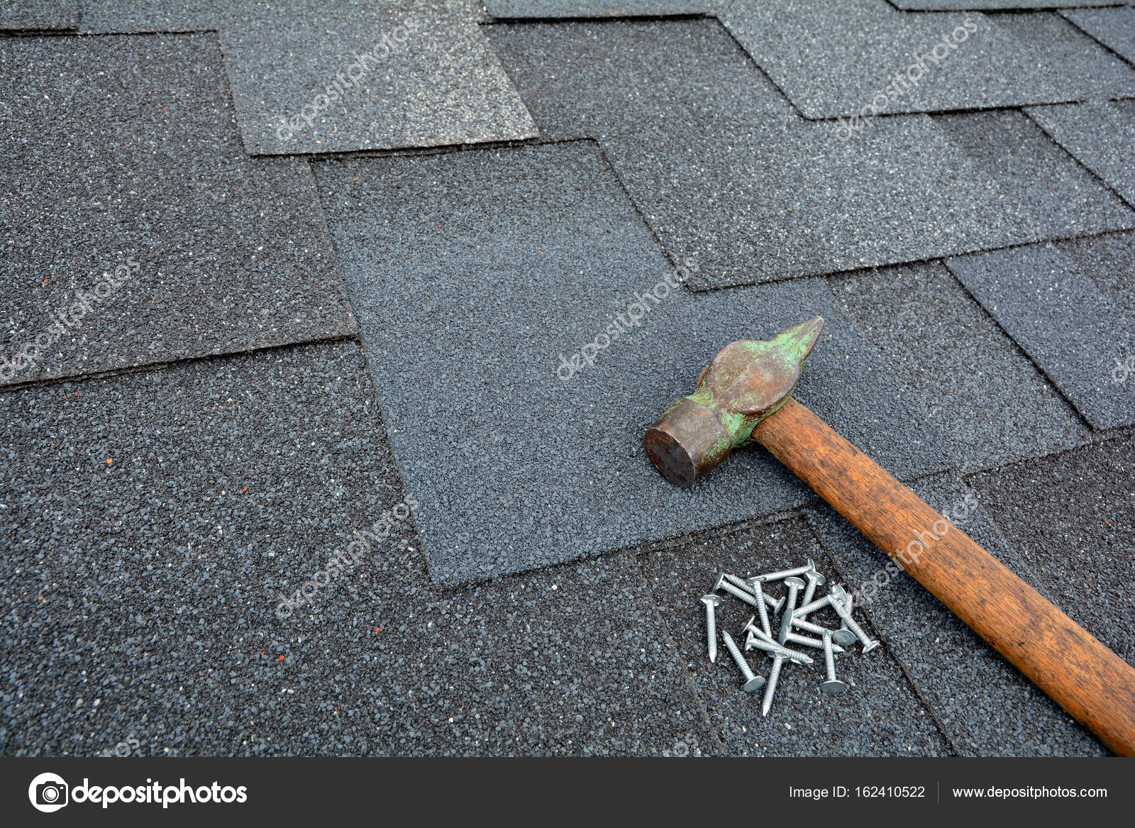 Roof Shingles - Roofing  Asphalt shingles on a roof with