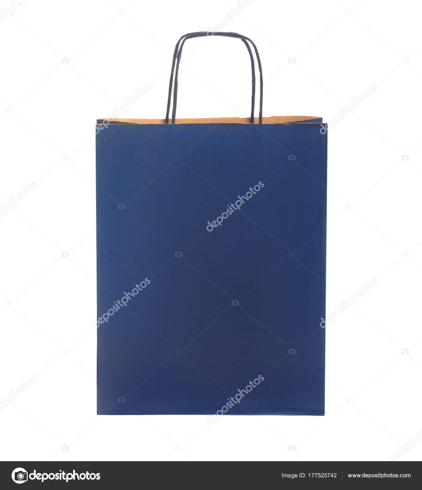 977d4c555 Ecológica reciclaje papel azul oscuro paquete, paquete, bolso aislado sobre  fondo blanco - bolsa ecologica azul — Foto de ...