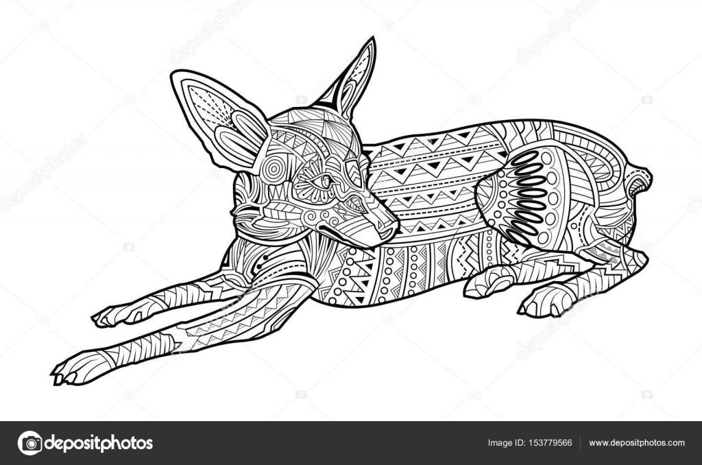 Lindo perro de página para colorear de raza Chihuahua — Vector de ...