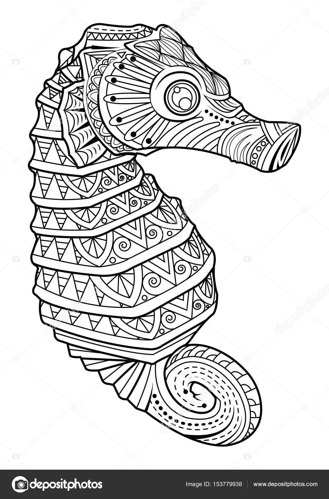 caballo de mar estilo de página para colorear — Archivo Imágenes ...