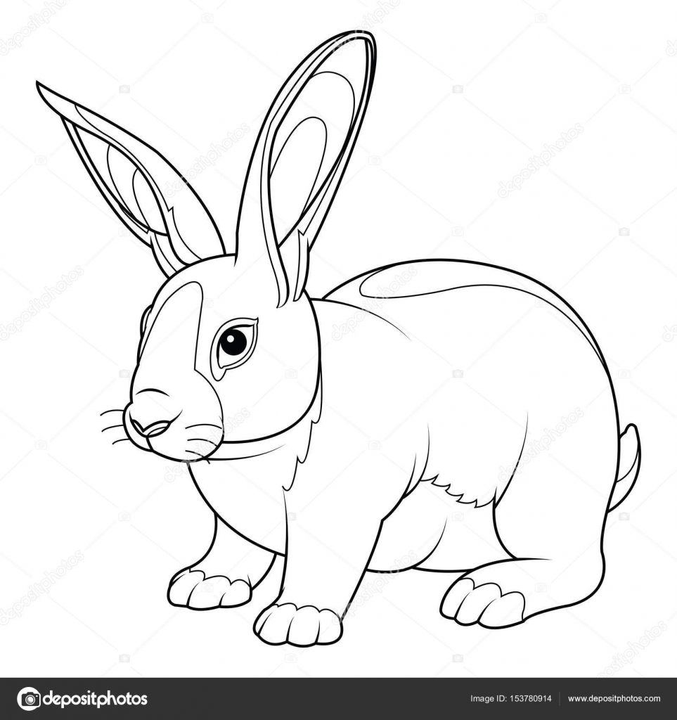 coloring page rabbit hand drawn vintage doodle bunny vector illustration for easter vector by lumyaisweet - Rabbit Coloring Page