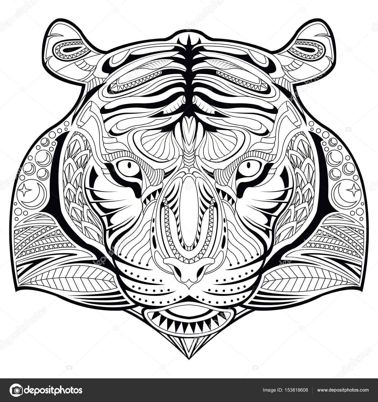 getrokken tijger gezicht illustratie kleurplaat
