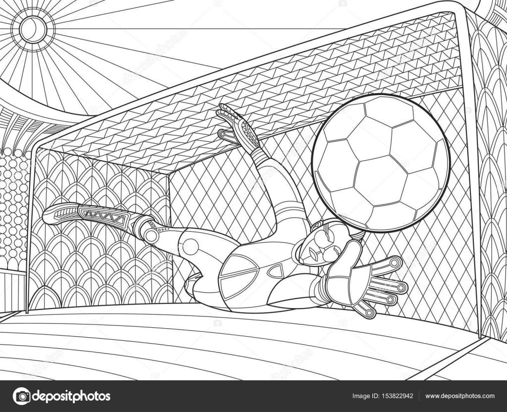 Balle frapp e de football gardien de but main dessin illustration vectorielle image - Coloriage gardien de foot ...