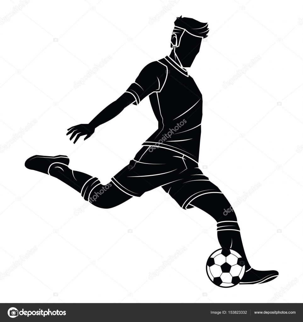 Silhouetten Der Fussballspieler Stockvektor C Lumyaisweet
