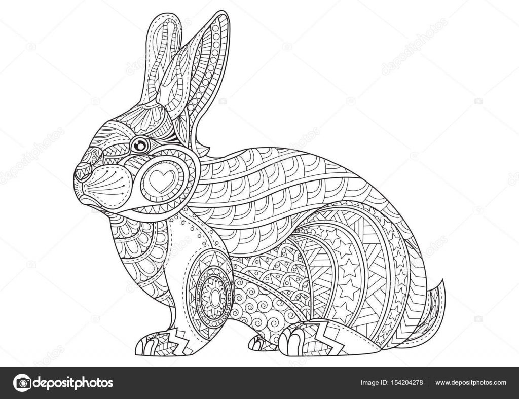 Coloring Page rabbit. Hand Drawn vintage doodle bunny vector ill ...