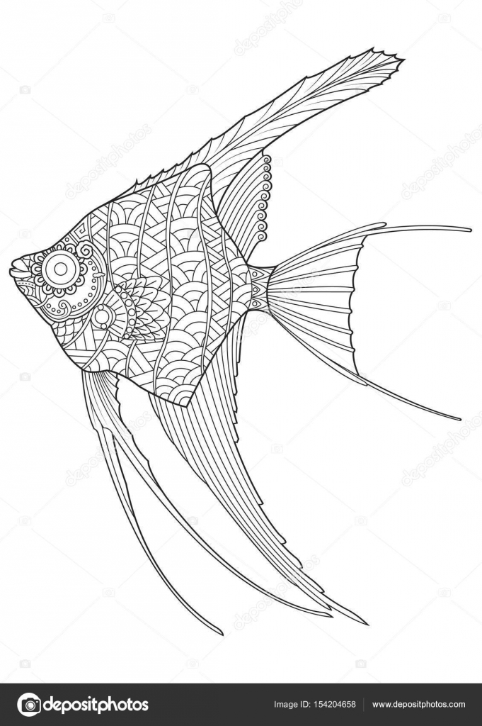 Angel Fish Coloring Page Vector Illustration U2014 Vector By Lumyaisweet