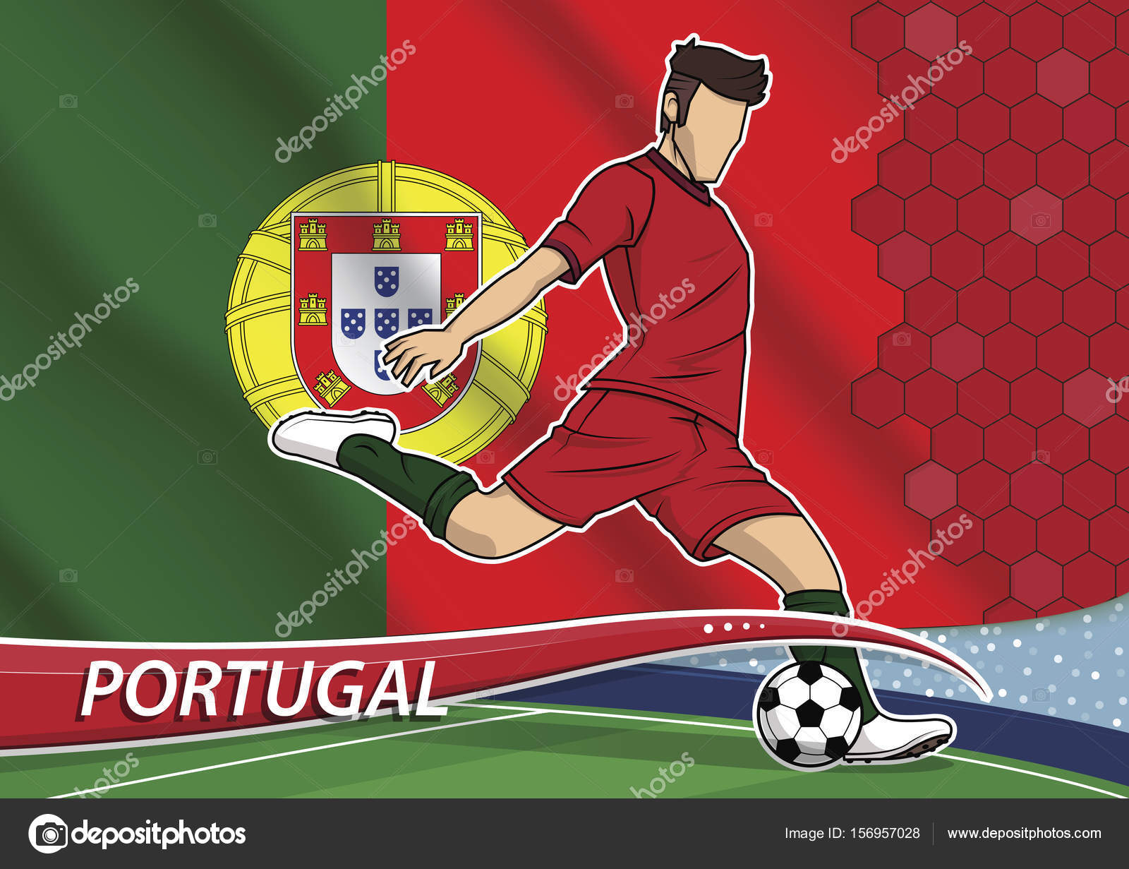 ffc10ec31 Soccer team player in uniform with state national flag of Portugal — Stock  Vector