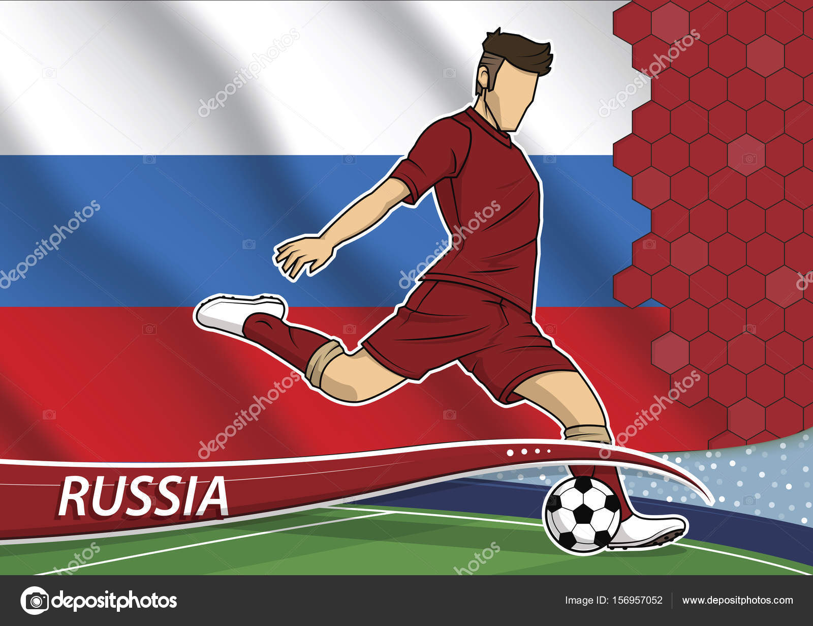 d53d6d2556f Vector illustration of football player shooting on goal. Soccer team player  in uniform with state national flag of Russia.