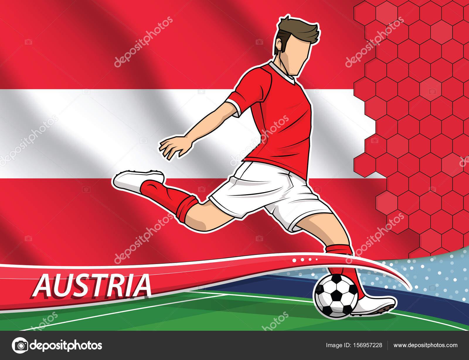 ea1fd34ef5d7d Jogador da equipe de futebol de uniforme com a bandeira nacional do estado da  Áustria —