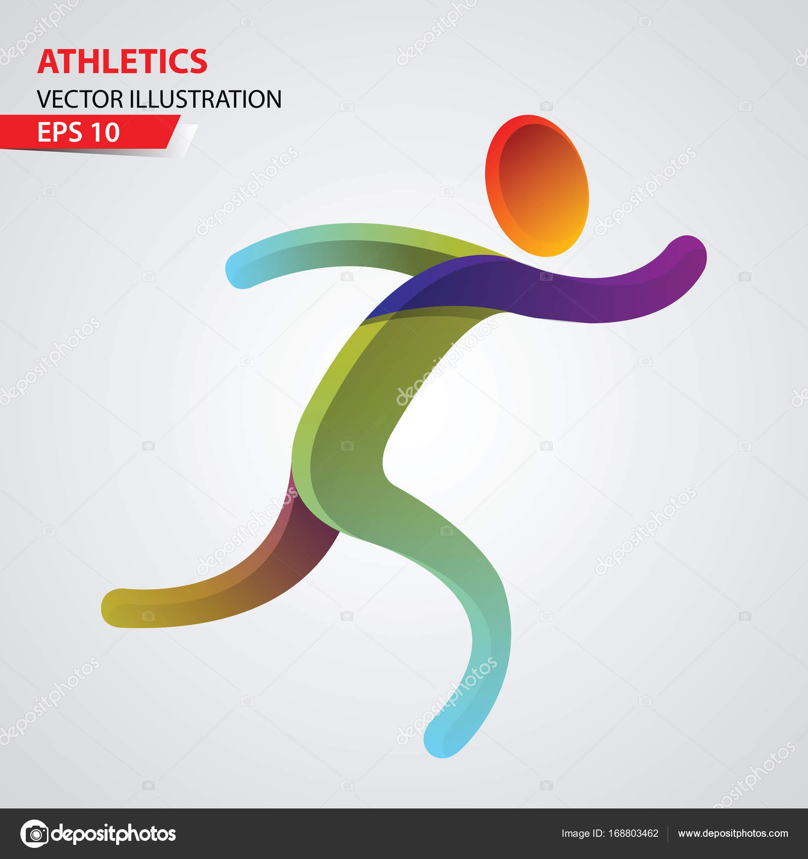 Leichtathletik-Farbe-Sport-Icon-Design Vorlage — Stockvektor ...
