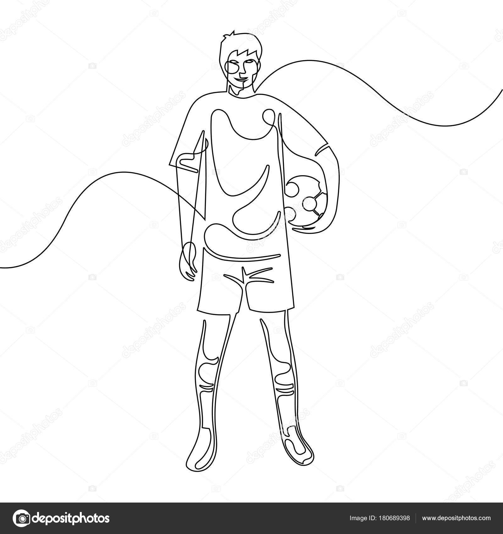 Imágenes Un Hombre Parado Para Colorear Continua Línea Dibujo De