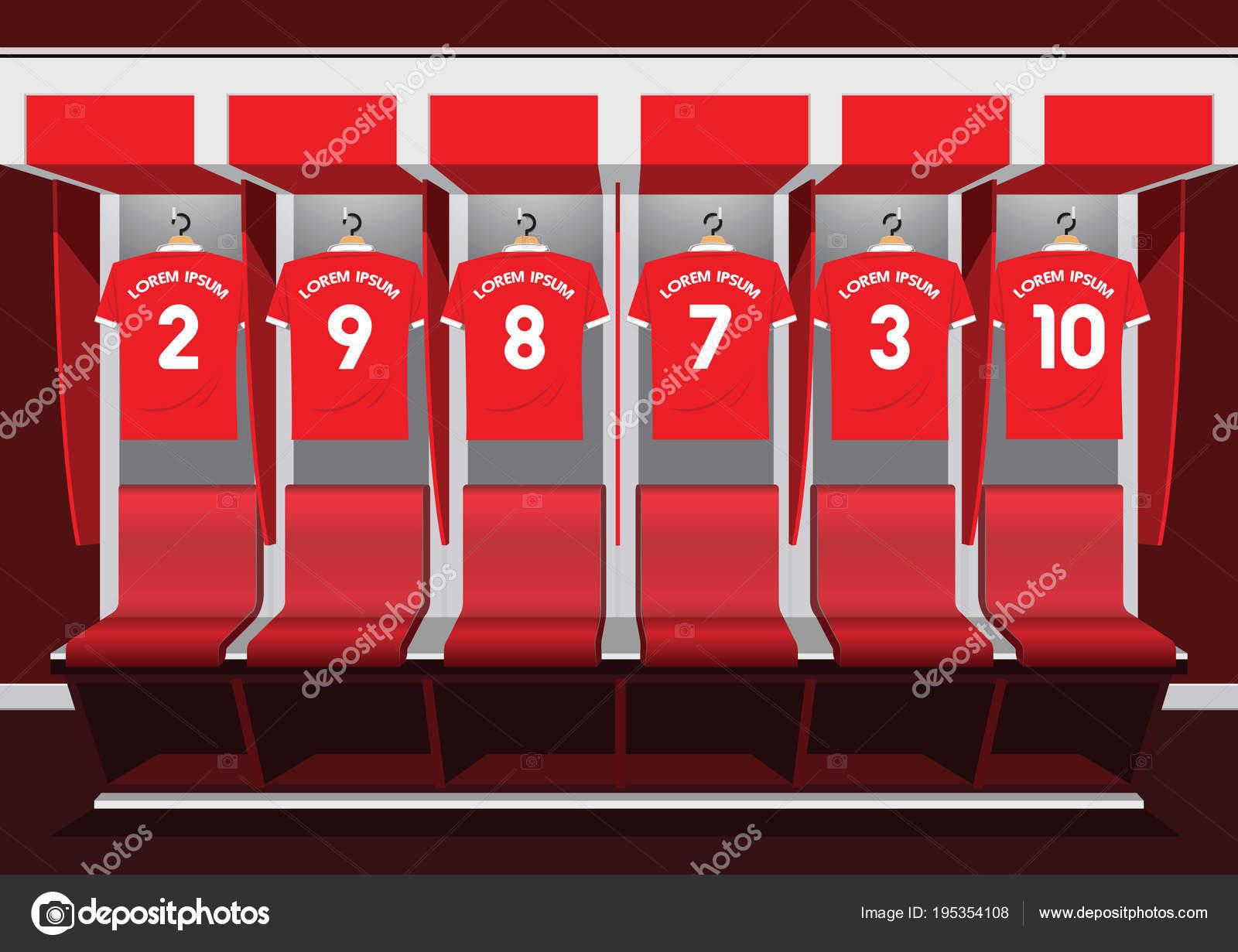 Fußball-Garderoben Teamsport Fußball rot — Stockvektor © lumyaisweet ...
