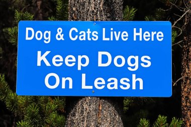 Dogs and cats live here keep dogs on leash sign