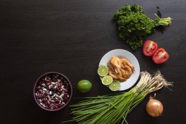 """Картина, постер, плакат, фотообои """"морепродукты с лаймом, зеленью и бобами на столе. вид сверху. здоровое питание ."""", артикул 194743500"""