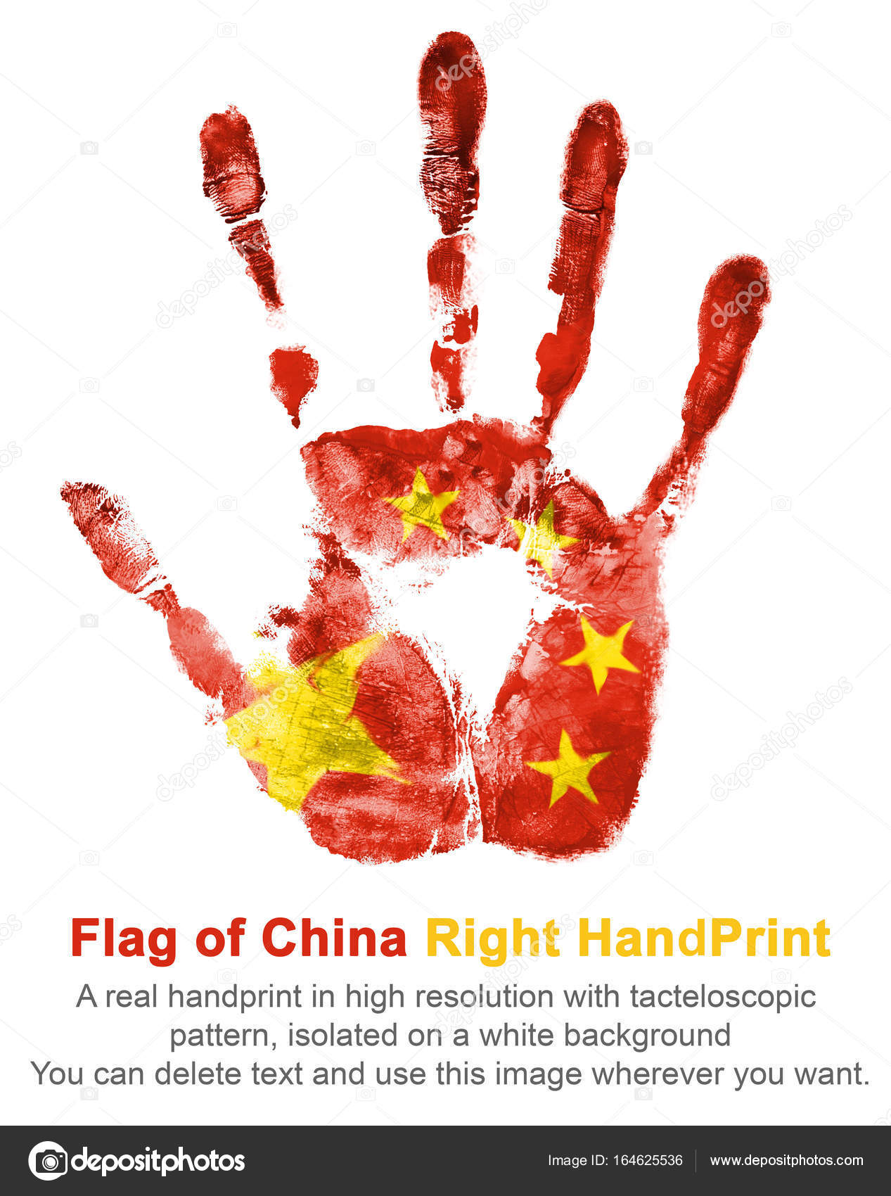 right hand print of china flag color the imprint of national