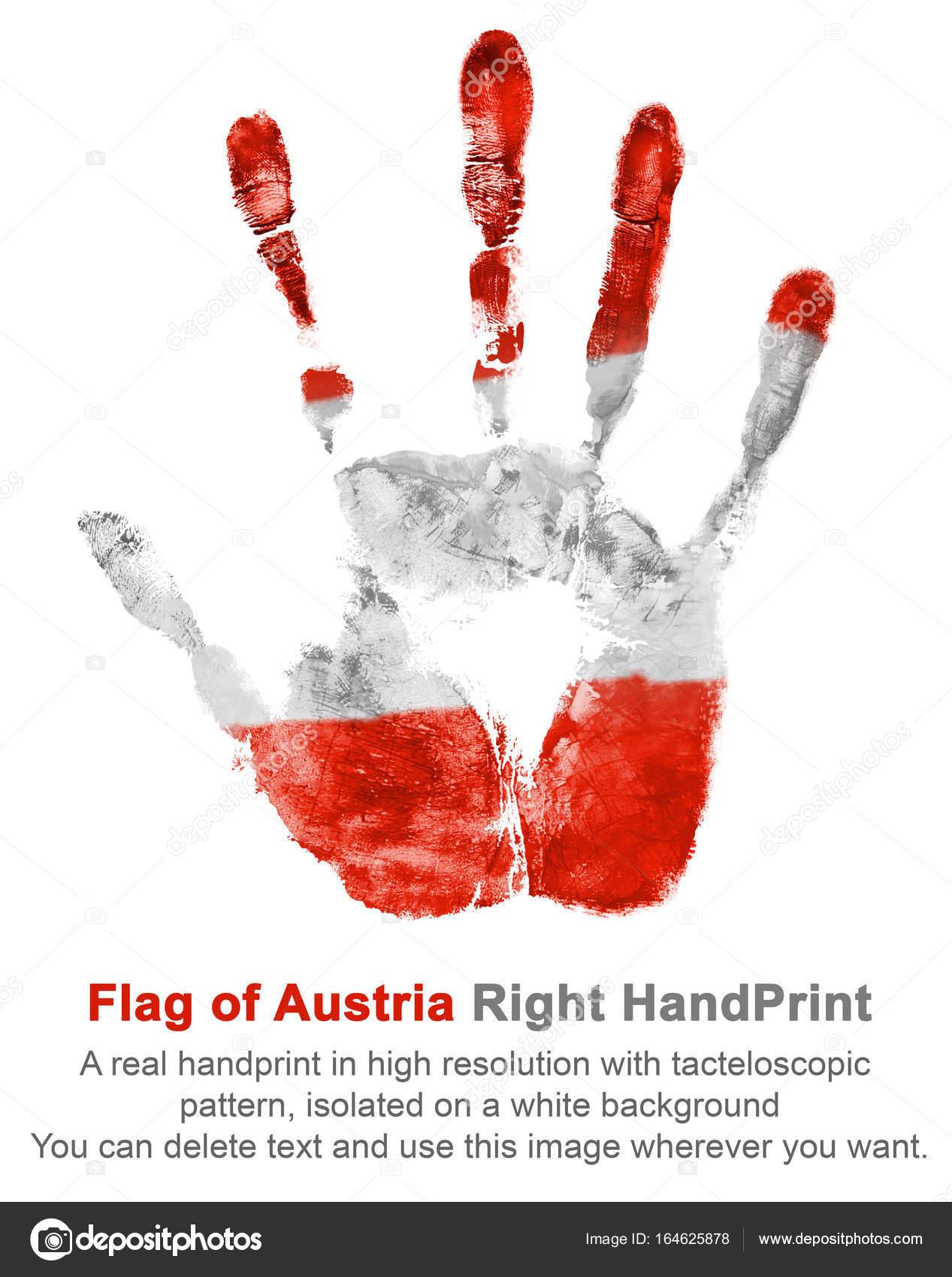 Rechten Hand In österreich Flagge Farben Drucken österreichische