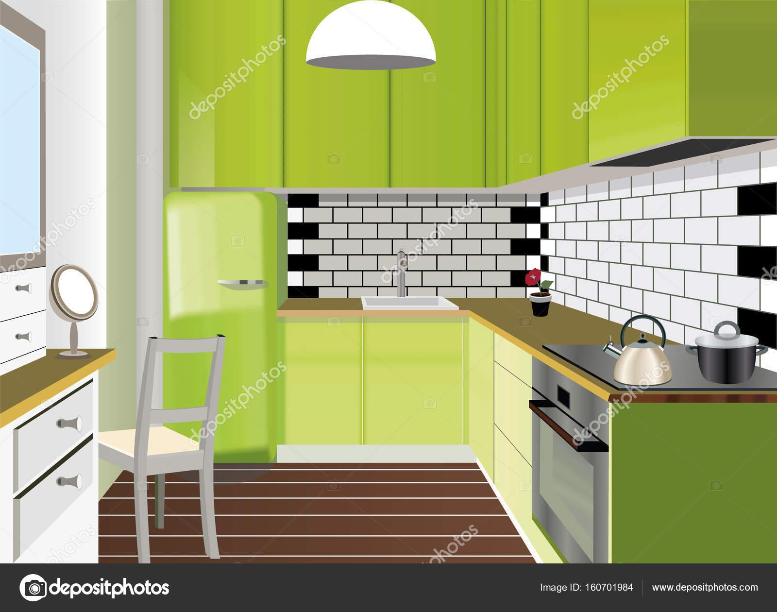 Fondo interno di cucina con mobili. Disegno moderno della cucina ...