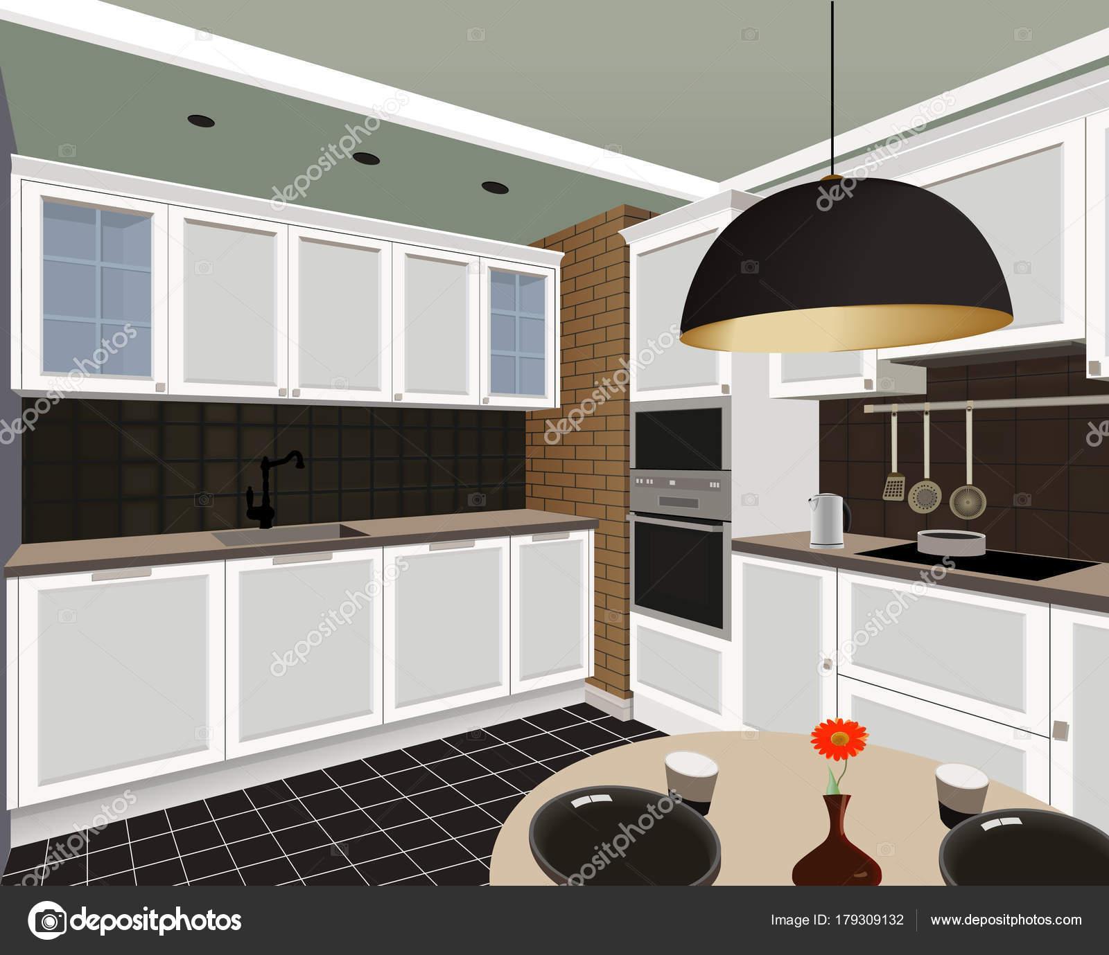 Disegni Di Cucine Moderne.Fondo Interno Di Cucina Con Mobili Disegno Della Cucina