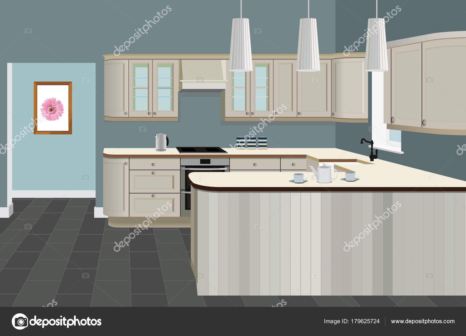 Imágenes: muebles cocina | Fondo interior de la cocina con muebles ...