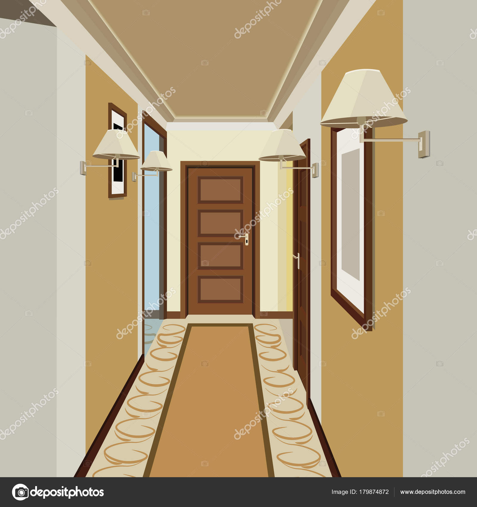 korridor innenraum hintergrund design der alten gang flur abbildung stockvektor