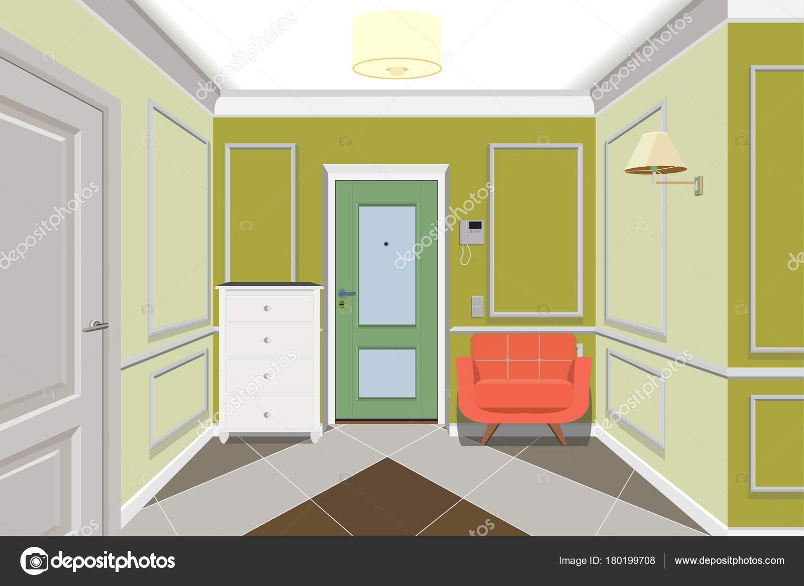 Moderne Grune Flur Mit Tur Kommode Und Sofa In Der Nahe Der Wand