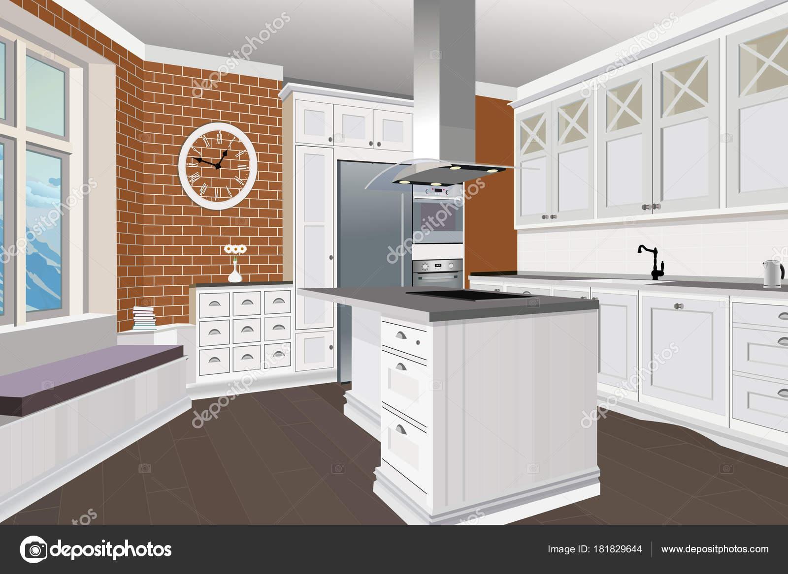 Fondo interno di cucina con mobili. Disegno della cucina moderna ...
