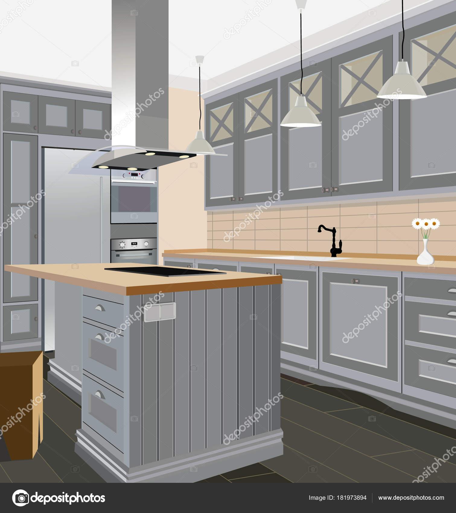 Fondo interno di cucina con mobili. Disegno della cucina ...