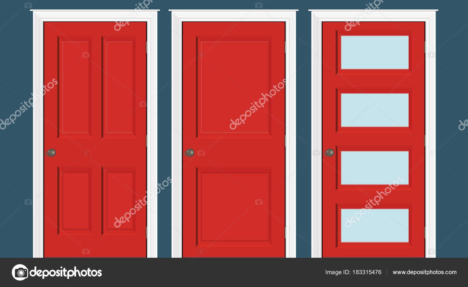 Rojo puertas cerradas - marco de la puerta solamente, no las paredes ...