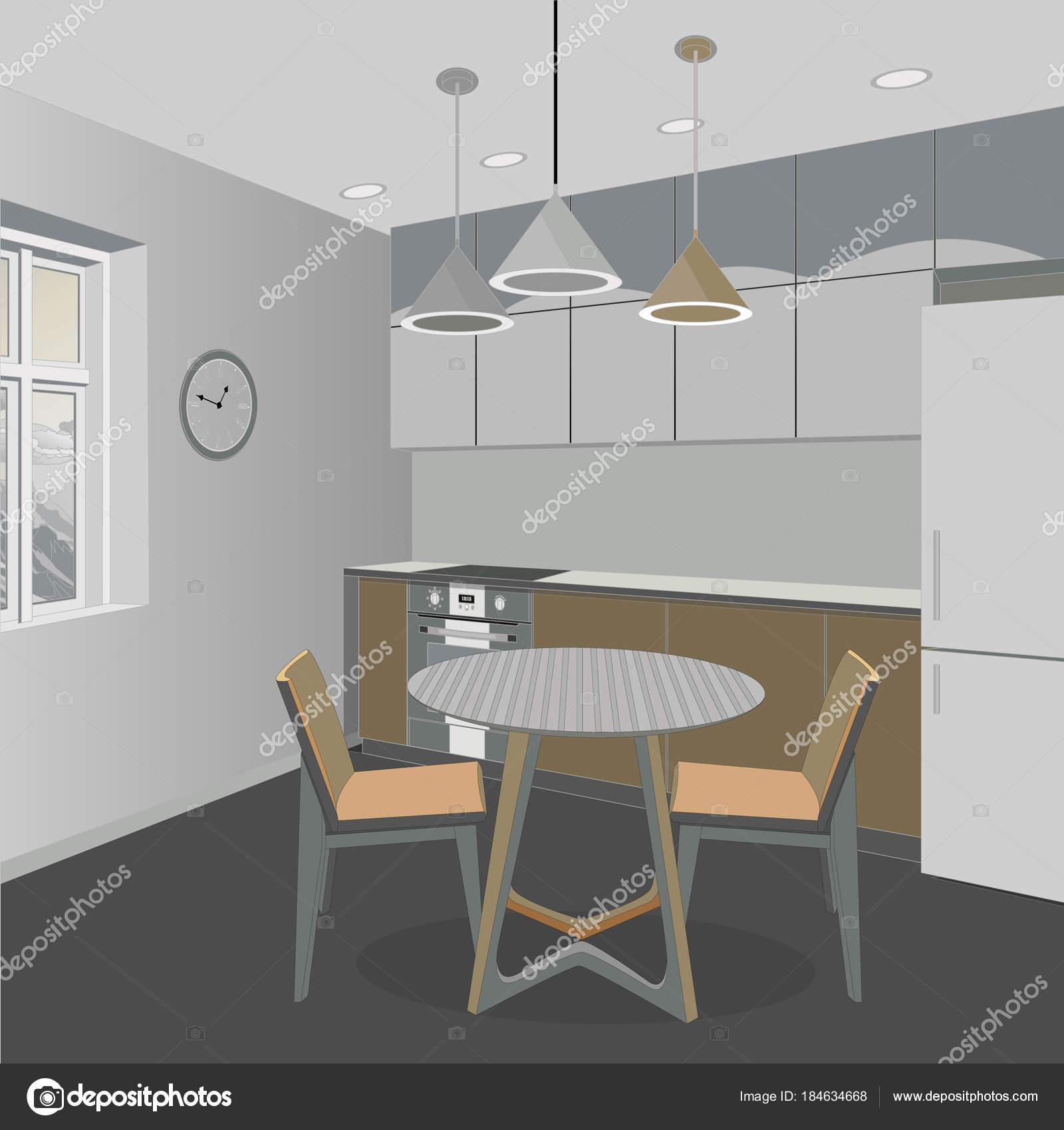 Küche Interieur Hintergrund mit Möbeln. Design der modernen Küche ...
